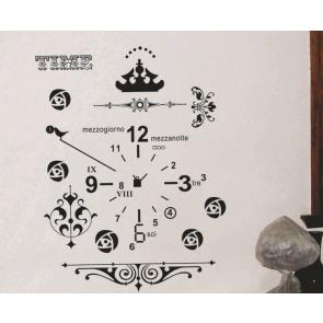 Black Time Clock Wall Decal Sticker
