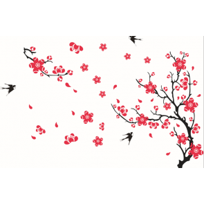 Pink Flowers Black Birds Wall Decal Sticker