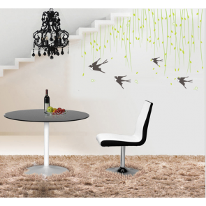 Black Swallows and Leaves Wall Decal Sticker