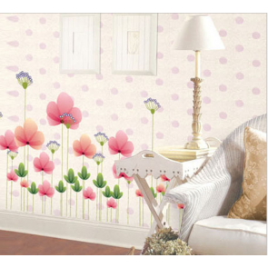Pink Spring Flowers Wall Decal Sticker
