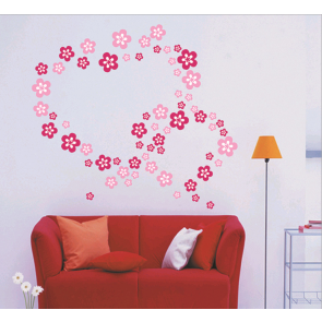 Flower Hearts Wall Decal Sticker